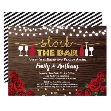 stock the bar invitation red rose rustic wood
