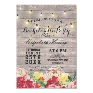 string light rustic wood floral bachelorette party