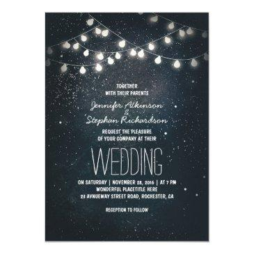 Small String Lights And Night Sky Stars Wedding Invites Front View