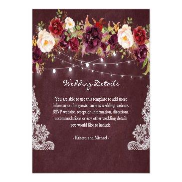 Small String Lights Burgundy Floral Lace Wedding Details Invitationss Front View