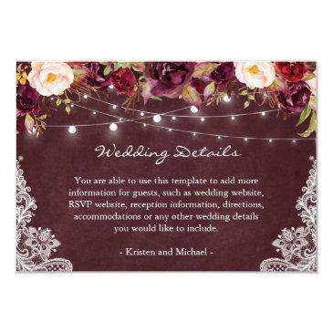 string lights burgundy floral lace wedding details