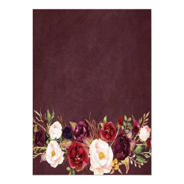 Small String Lights Burgundy Floral Lace Wedding Details Invitationss Back View
