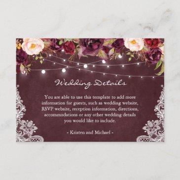 string lights burgundy floral lace wedding details enclosure