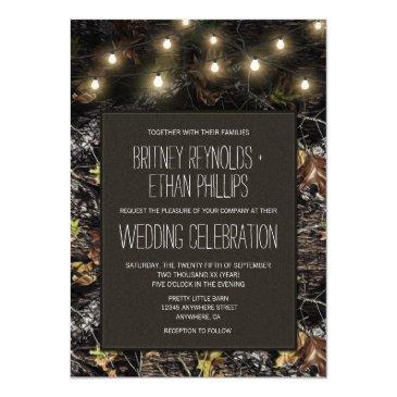string lights + hunting camo wedding invitationss