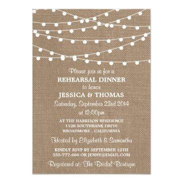 Small String Lights On Burlap Wedding Rehearsal Dinner Invitationss Front View