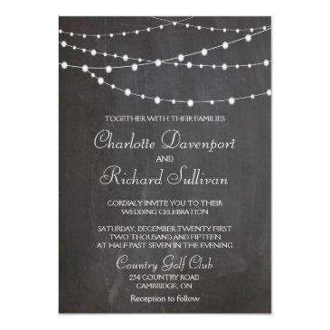 string lights on chalkboard wedding