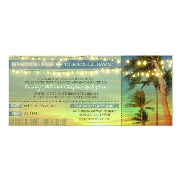 string lights palms wedding boarding pass tickets
