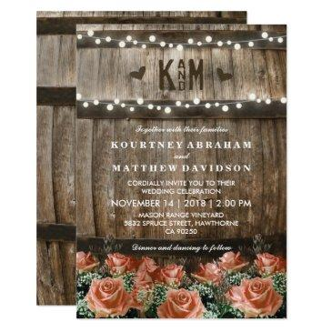 string lights | rustic country barrel wedding invitations