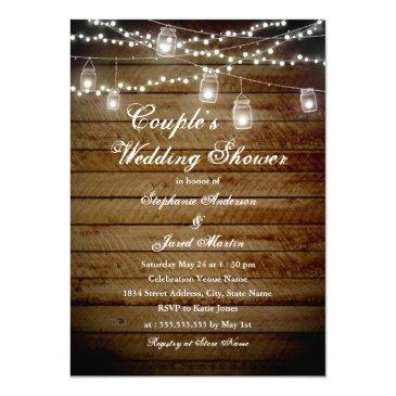 string lights rustic couples wedding shower invitationss