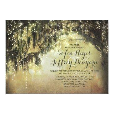 Small String Lights Rustic Tree Vintage Wedding Invites Front View