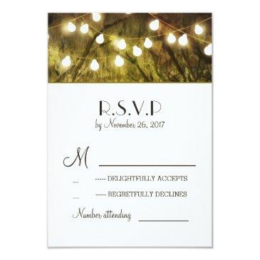 string lights rustic trees wedding rsvp