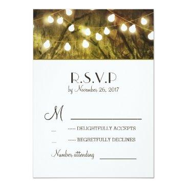 Small String Lights Rustic Trees Wedding Rsvp Invitationss Front View