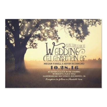 Small String Lights Tree Rustic Wedding Invitations Front View