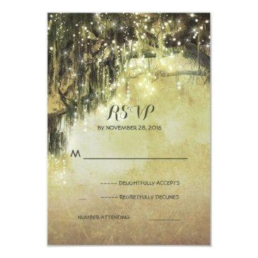 string of lights mossy tree rustic wedding rsvp