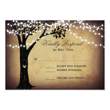 string of lights rustic oak tree wedding rsvp