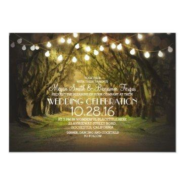 Small String Of Lights Trees Path Rustic Wedding Invites Front View