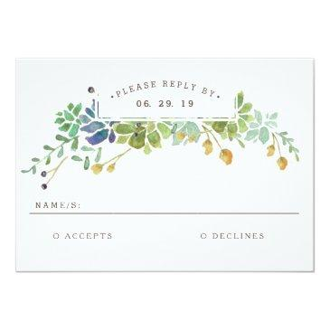 Small Succulent Garden | Watercolor Wedding Rsvp Front View