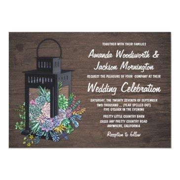 Small Succulent Rustic Wood Lantern Wedding Invitation Front View