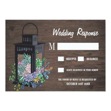 Small Succulent Rustic Wood Lantern Wedding Rsvp Invitationss Front View
