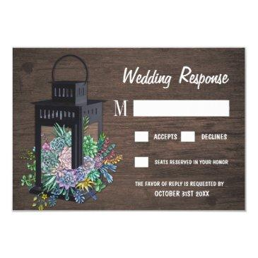 succulent rustic wood lantern wedding rsvp