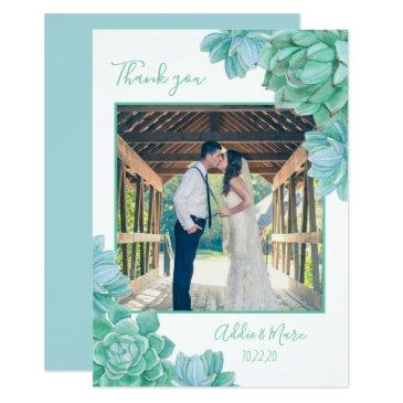succulent wedding photo thank you + with note