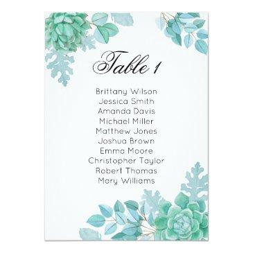 succulent wedding seating chart. cactus table plan