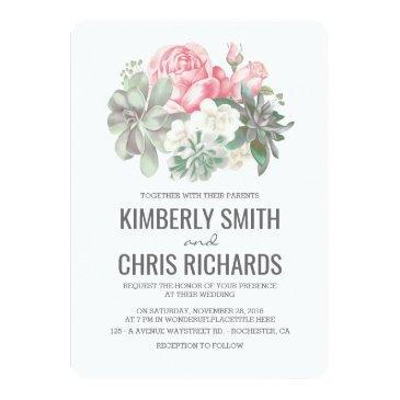 succulents and pink flowers elegant simple wedding