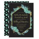 succulents gold frame any color wedding invitations