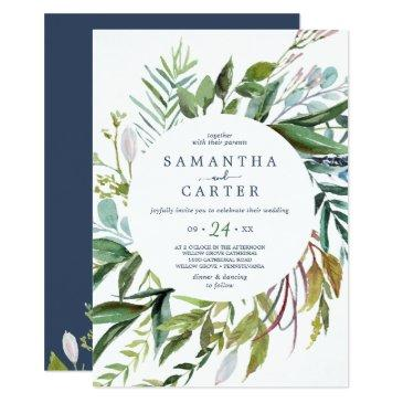 summer greenery all in one wedding invitation