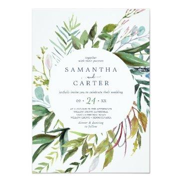 Small Summer Greenery All In One Wedding Invitation Front View