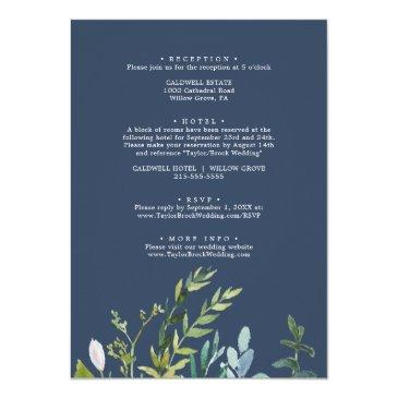 Small Summer Greenery All In One Wedding Invitation Back View