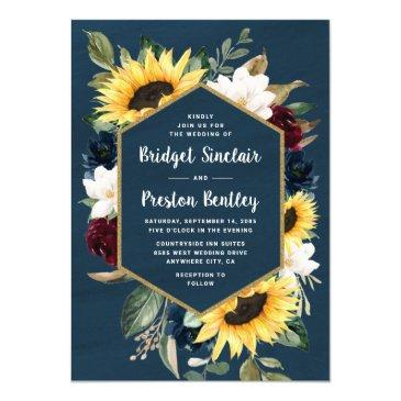 sunflower and navy blue watercolor rustic wedding invitation