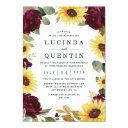 sunflower and roses burgundy red rustic wedding invitation