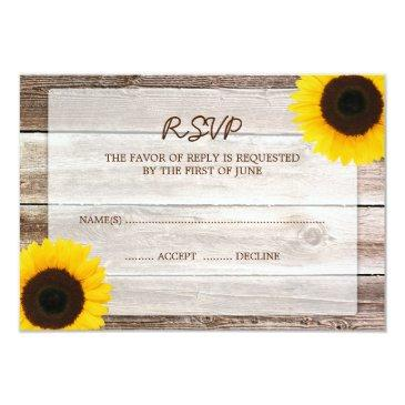 sunflower barn wood wedding rsvp response