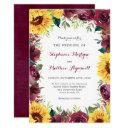 sunflower burgundy floral border fall wedding invitation