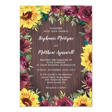 Small Sunflower Burgundy Rose Border Wood Rustic Wedding Invitation Front View