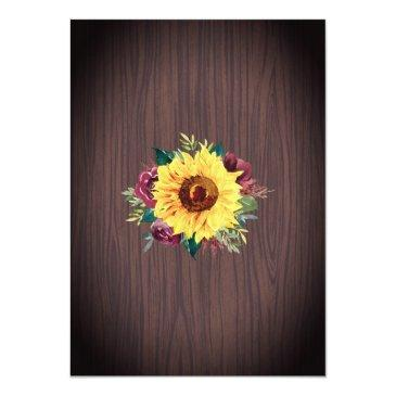Small Sunflower Burgundy Rose Border Wood Rustic Wedding Invitation Back View