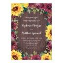 sunflower burgundy rose border wood wedding invitation