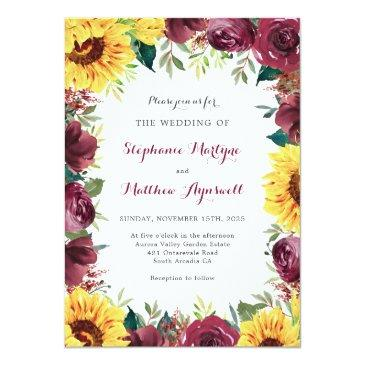 Small Sunflower Burgundy Rose Floral Border Wedding Invitation Front View