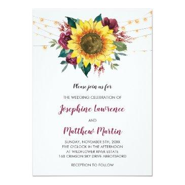 Small Sunflower Burgundy Rose Floral Lights Wedding Invitation Front View