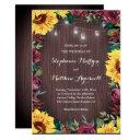 sunflower burgundy rose wood jar lights wedding invitation