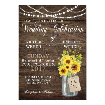 sunflower country mason jar wedding