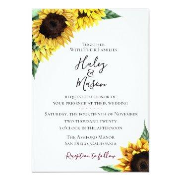 Small Sunflower Fields Wedding Invitation Front View