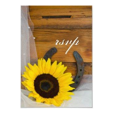 sunflower horseshoe country western wedding rsvp