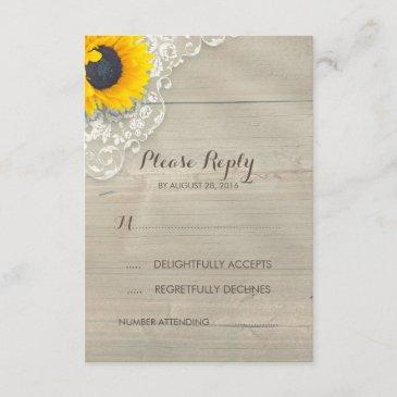 sunflower lace and wood rustic wedding rsvp