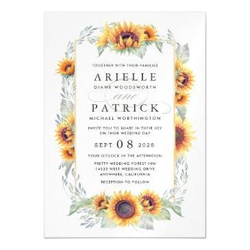 sunflower magnetic watercolor wedding