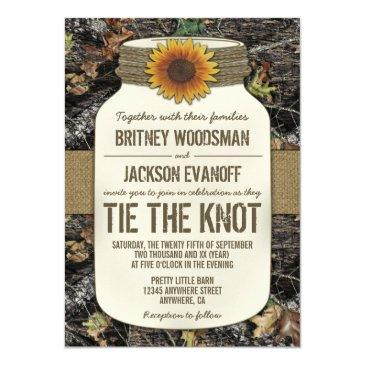 sunflower mason jar camo wedding invitationss