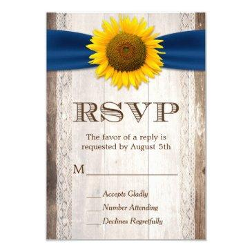 sunflower navy ribbon lace rustic barn wood rsvp