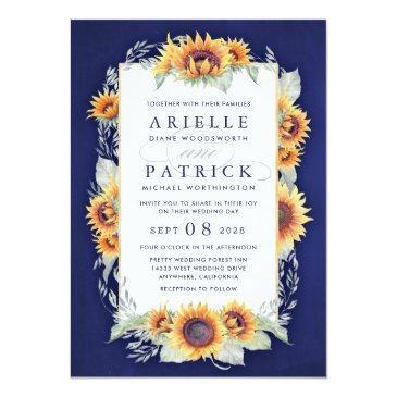 Small Sunflower Royal Blue Rustic Wedding Front View