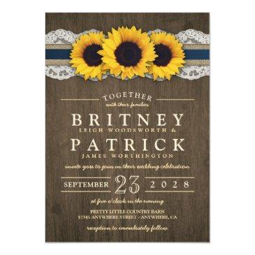 Small Sunflower Rustic Blue Burlap Wedding Front View